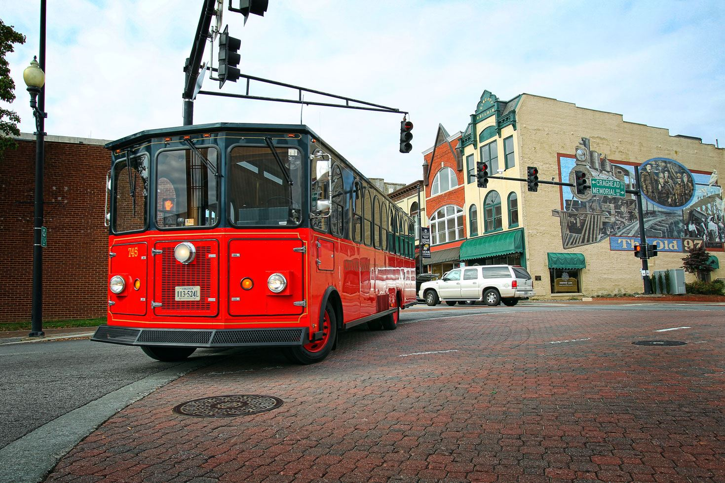 Danville Transit Trolley on Main Street