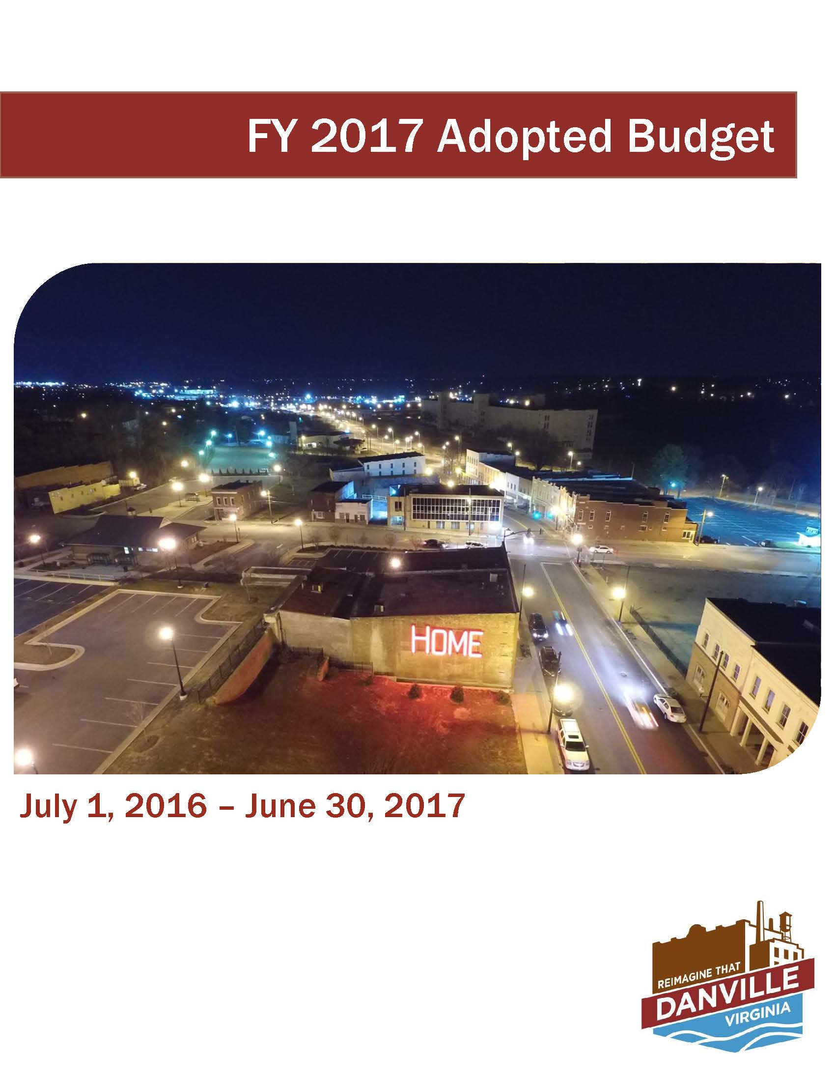 FY 2017 Adopted Budget Cover