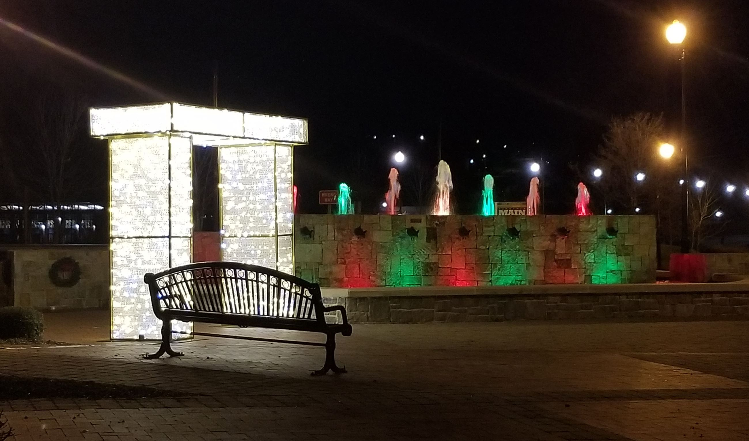 Holiday lights at the JTI Fountain and Main Street Plaza